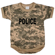 Police baby tee shirt infant one piece body suit tshirt acu digital camo design