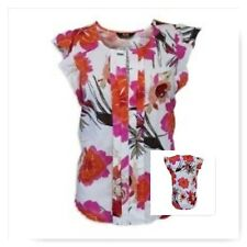 New Ladies Dorothy Perkins Multi Floral Pleated Top Tunic Size 8-20 Cream Pink