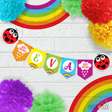 Personalised Childrens Party Banner RAINBOW Rain CLOUD LADYBIRD Birthday Party