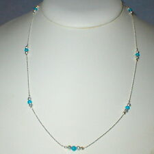 Sterling Silver 925 Fine Chain with Green Turquoise and Laser Cut Beads NECKLACE