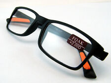 RG9 Super Bendable Fashion TR90 Material Black with  Orange Tip Reading Glasses