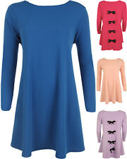 New Womens Plus Crepe Bow Back Long Sleeve Swing Ladies Flared Party Dress 16-26
