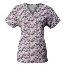 Medgear Mock Wrap Scrub Top with Ties, 2 Pockets 109-Flower Power
