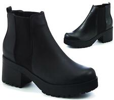 Womens Ladies New Chelsea Chunky Block Heel Grip Sole Ankle Boots Shoes 3-8