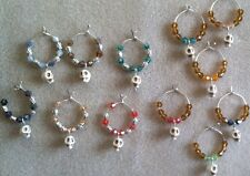 skull bead wine glass charms set of 6 free shipping unique and different