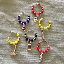 NEW YORK FIREFIGHTERS wine glass charms set of 6 handcrafted