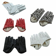 5X(Women Faux Leather Five Finger Half Palm Gloves HY
