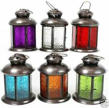 INDIAN MOROCCAN HANGING COLOURED TONAL GLASS LANTERN TEA LIGHT HOLDER IRON HOME