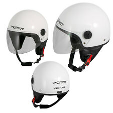 Motorcycle Open Face Classic Jet Helmet  Scooter Clear Visor White