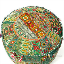 """12 X 17"""" GREEN DECORATIVE ROUND POUFFE OTTOMAN COVER Floor Seating Boho Indian"""