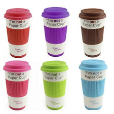 CERAMIC TRAVEL COFFEE MUG CUP SILICONE LID SLEEVE THERMAL INSULATED TEA NEW