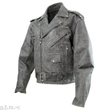 Xelement B7149 Classic Soft Cowhide Distressed Grey Leather Motorcycle Jacket