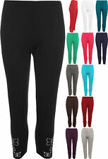 New Plus Womens Butterfly Sequin Ladies 3/4 Crop Stretch Leggings Pants