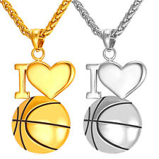 I Love Basketball Pendant Stainless Steel Necklace 18K Gold Plated Men Jewelry