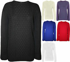 New Plus Size Womens Plain Long Sleeve Sweater Top Ladies Knitted Jumper