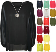 New Plus Womens Chiffon Sheer Lined Necklace Ladies Batwing Sleeve Top