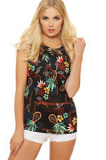 Womens Floral Print Pleated Vest Top Sleeveless Button Up Back Blouse