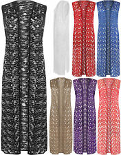New Womens Plus Size Floral Lace Open Long Sleeveless Top Ladies Cardigan