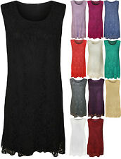 New Womens Plus Size Lace Top Sleeveless Stretch Ladies Short Party Dress
