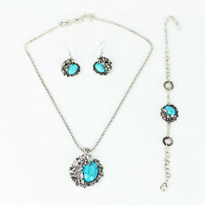 New ! Tibet Silver Turquoise Butterfly Bracelet +Earring +Necklace Jewelry Set