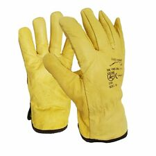 5 Pairs Leather Lorry Drivers Work Gloves Fleece Cotton Lined DIYQuality
