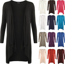New Womens Plus Size Long Sleeve Plain Cardigan Womens Open Waterfall Top