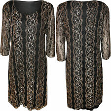 New Plus Size Womens Black Lace Lined 3/4 Sleeve Ladies Crochet Dress