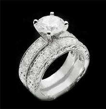 USA TOP GRADE 14K WHITE GOLD P 2CT RUSSIAN SIMULATED DIAMOND RING WEDDING SET