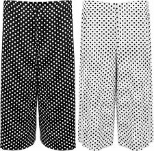 New Womens Plus Size Polka Dot Spot Print Wide Leg Culottes Ladies Shorts