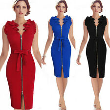 Elegant Women V-Neck Ruffle Sleeve Belted Front Zipper Wear to Work Sheath Dress