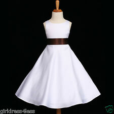 WHITE/BROWN CHOCOLATE A-LINE WEDDING FLOWER GIRL DRESS 12M 2 3/4 6 8 10 12 14 16
