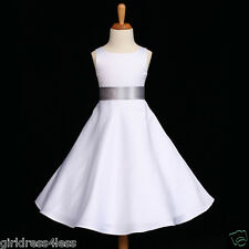 WHITE/SILVER A-LINE HOLIDAY WEDDING FLOWER GIRL DRESS 12-18M 2 4 6 8 10 12 14 16