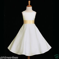 IVORY/YELLOW A-LINE EASTER WEDDING FLOWER GIRL DRESS 12-18M 2 4 6 8 10 12 14 16