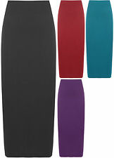New Womens Plus Size Plain Long Ladies Stretch Elasticated Maxi Skirt