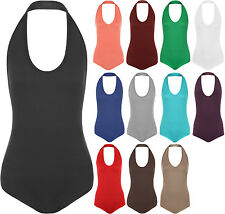 New Womens Plus Size Halter Neck Sleeveless Ladies Stretch Top Bodysuit