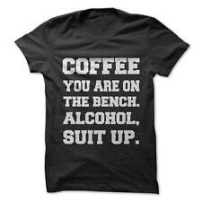Alcohol Suit Up - Funny T-Shirt Short Sleeve 100% Cotton Coffee Drug Humor Joke