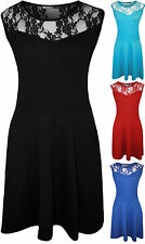New Plus Size Womens Plain Lace Sleeveless Ladies Short Skater Party Dress
