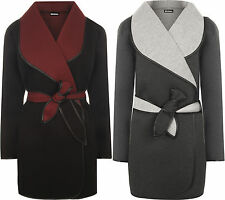 New Plus Womens Collar Waterfall Lined Long Sleeve Belted Jacket Ladies Coat