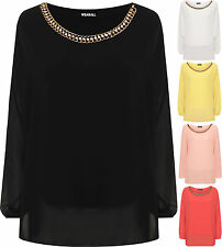 Womens Plus Chiffon Sheer Lined Batwing Long Sleeve Necklace Blouse Ladies Top