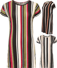 Womens Plus Striped Print Side Slit Crew Neck Short Sleeve Capped Ladies Top
