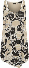 Womens Plus Scoop Neck Top Ladies Print Strappy Sleeveless Lined Insert