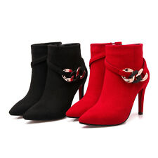 US Size New Pointed Sexy Thin High Heel Ankle Boots Zip Up Strap Lady Shoes s666