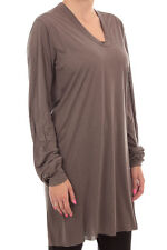 Rick Owens New Woman Long Sleeves T-Shirt  brown silk made in italy