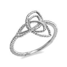 Fine 10k White Gold Rope Triquetra Celtic Knot Ring