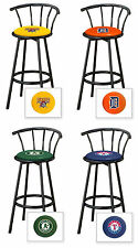 "MLB LOGO THEMED 29"" TALL BLACK FINISH METAL SWIVEL SEAT MAN CAVE BAR STOOLS"