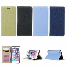 Denim Jeans Cloth Automatically Pull Card Slot Case Cover For iPhone 6 6s Plus