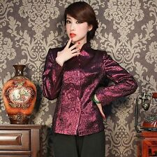 Charming Chinese Women's silk jacket /coat Cheongsam Purple Sz:M L XL XXL XXXL