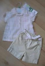 BNWT Baby Girls Clothes 6 & 12 Months DISNEY Cotton Pink Beige Blouse & Shorts