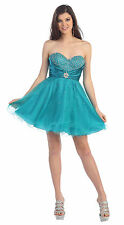 Prom Short Cocktail Strapless Sweetheart Tulle Sassy Mini Homecoming Dress