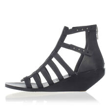 RICK OWENS New Woman black Leather Sandals Shoes Wedge Made in Italy